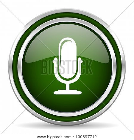 microphone green glossy web icon modern design with double metallic silver border on white background with shadow for web and mobile app round internet original button for business usage