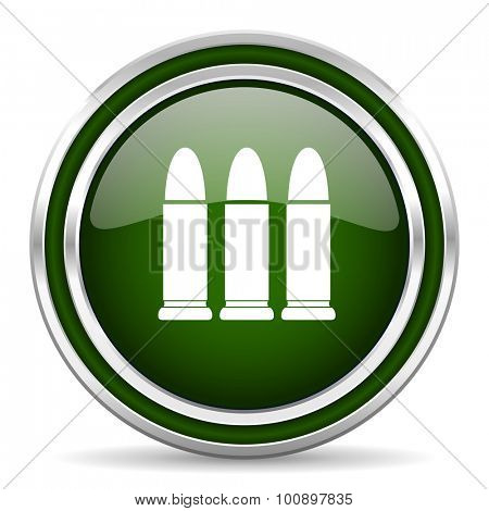 ammunition green glossy web icon modern design with double metallic silver border on white background with shadow for web and mobile app round internet original button for business usage