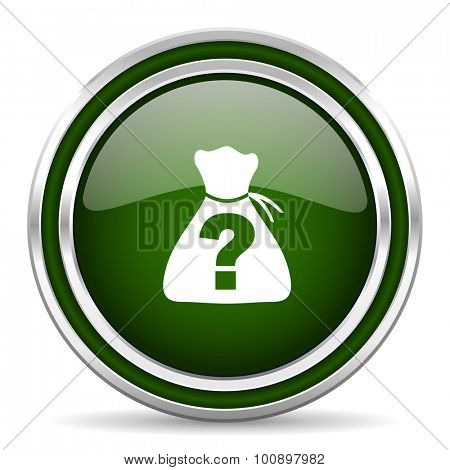 riddle green glossy web icon modern design with double metallic silver border on white background with shadow for web and mobile app round internet original button for business usage