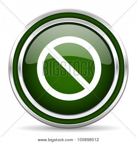 access denied green glossy web icon modern design with double metallic silver border on white background with shadow for web and mobile app round internet original button for business usage