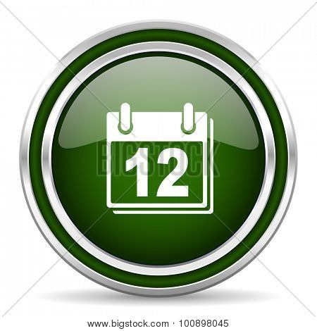 calendar green glossy web icon modern design with double metallic silver border on white background with shadow for web and mobile app round internet original button for business usage