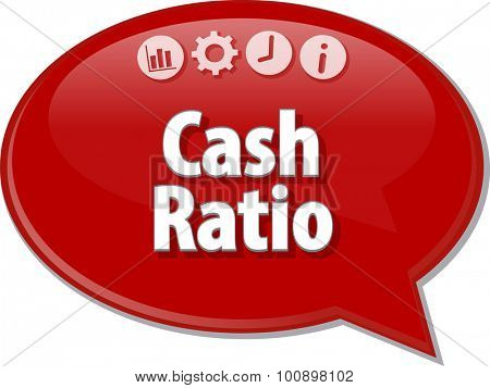 Speech bubble dialog illustration of business term saying Cash Ratio