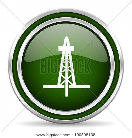 drilling green glossy web icon modern design with double metallic silver border on white background with shadow for web and mobile app round internet original button for business usage