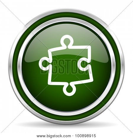 puzzle green glossy web icon modern design with double metallic silver border on white background with shadow for web and mobile app round internet original button for business usage