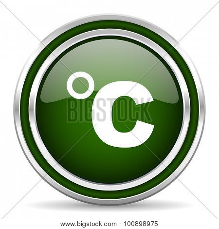 celsius green glossy web icon modern design with double metallic silver border on white background with shadow for web and mobile app round internet original button for business usage