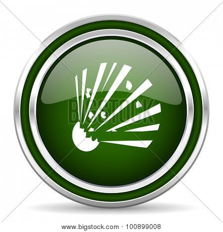 bomb green glossy web icon modern design with double metallic silver border on white background with shadow for web and mobile app round internet original button for business usage