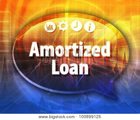 Speech bubble dialog illustration of business term saying Amortized loan