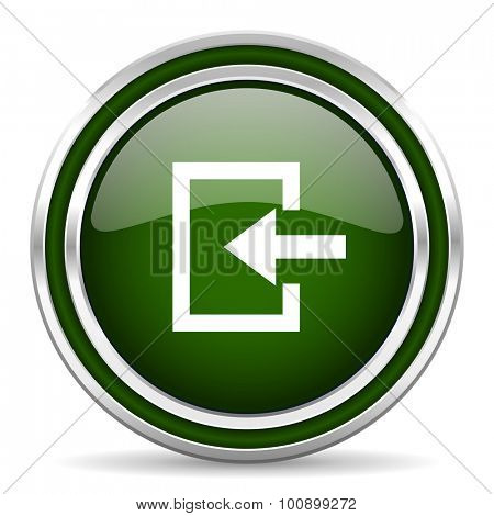 enter green glossy web icon modern design with double metallic silver border on white background with shadow for web and mobile app round internet original button for business usage