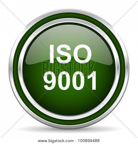 iso 9001 green glossy web icon modern design with double metallic silver border on white background with shadow for web and mobile app round internet original button for business usage