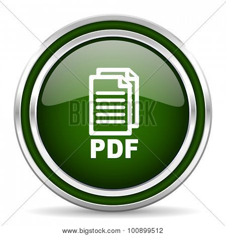 pdf green glossy web icon, modern design with double metallic silver border on white background with shadow for web and mobile app round internet original button for business usage