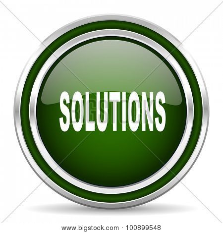 solutions green glossy web icon modern design with double metallic silver border on white background with shadow for web and mobile app round internet original button for business usage