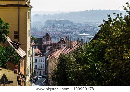 bird's-eye view on the Prague panorama and street in front of shot
