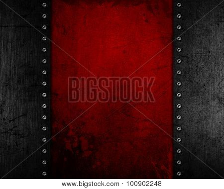 Grunge metal background with a red distressed texture
