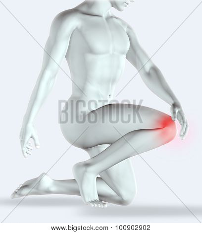 3D render of a male figure holding his knee in pain