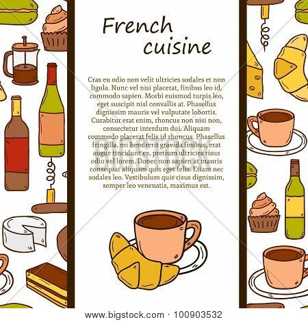 Vector ethnic cuisine or travel concept with cartoon hand drawn objects and seamless background on f