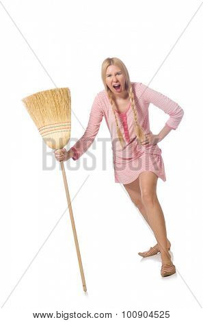 Housewife doing home cleaning isolated on white