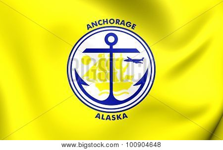 Flag Of Anchorage City, Alaska.