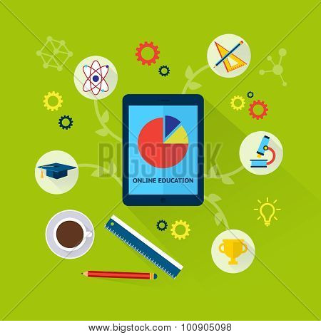 Online education concept with science icons