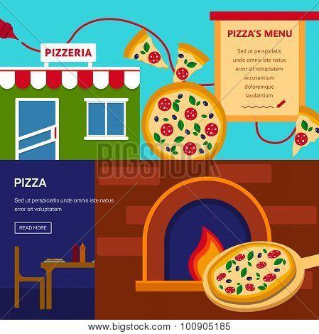 Pizzeria horizontal banners set