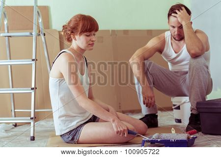 Despair Couple Renovating House