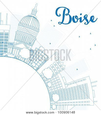 Outline Boise Skyline with Blue Building and copy space