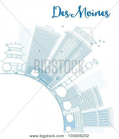 Outline Des Moines Skyline with Blue Buildings and copy space