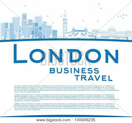 Outline London skyline with skyscrapers, clouds and copy space. Business travel concept