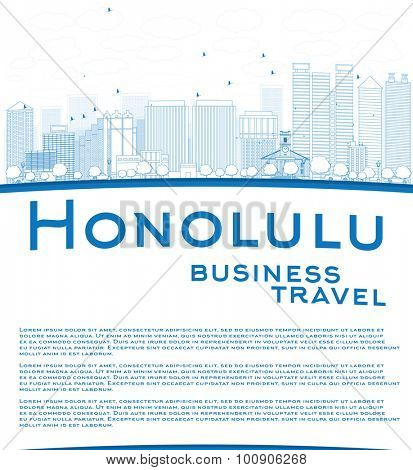 Outline Honolulu Hawaii skyline with blue buildings and copy space. Business travel concept.