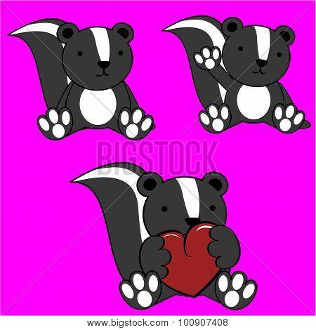 cute baby skunk cartoon lovely set