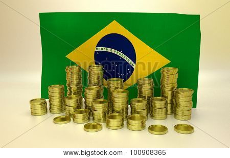 finance concept with Brazilian flag