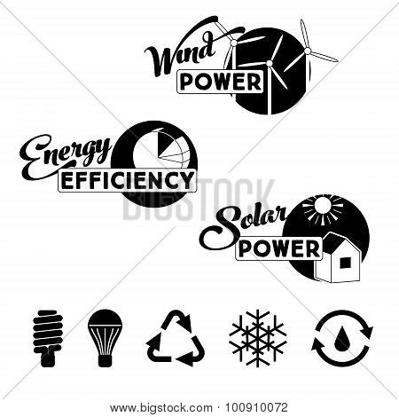 Alternative energy labels and badges: solar power, wind power turbines, energy efficiency. Vector ec