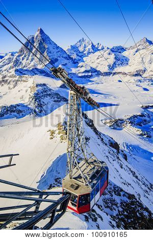 Swiss Alps - winter season in Zermatt - mountain view Matterhorn