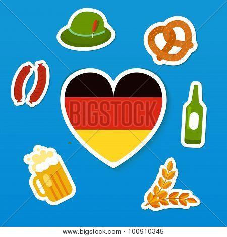 Set of symbols of Oktoberfest - traditional festival of beer. Flag of Germany in heart shape, bottle