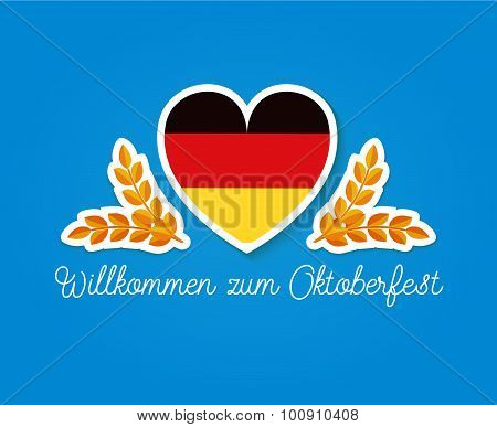 Germany flag in heart shape with two slikes and german text: Wilkommen zum Oktoberfest - welcome to