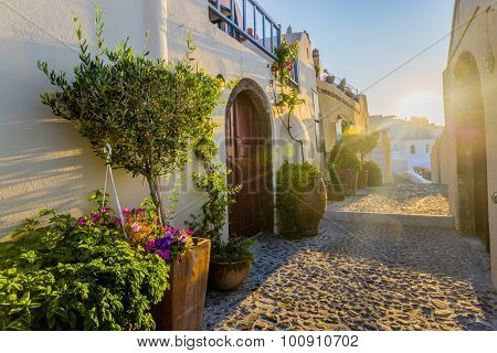 Santorini, Greece - Oia street at sunrise