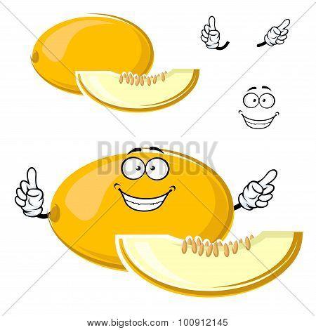 Cartoon yellow melon fruit with slice