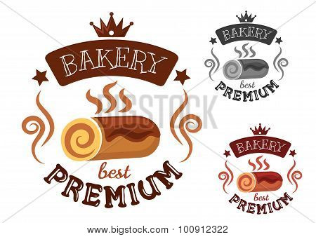 Bakery emblem with swiss roll cake