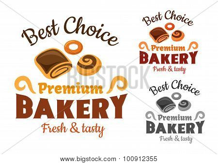 Bakery emblems with buns and bagel
