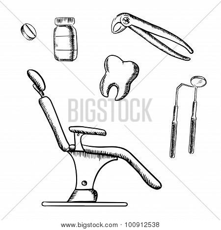 Dental medicine sketch icons and objects