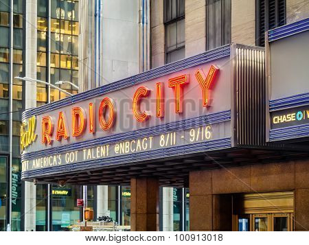NEW YORK,USA- AUGUST 14,2015 : The Radio City Music Hall presenting the America's got talent show