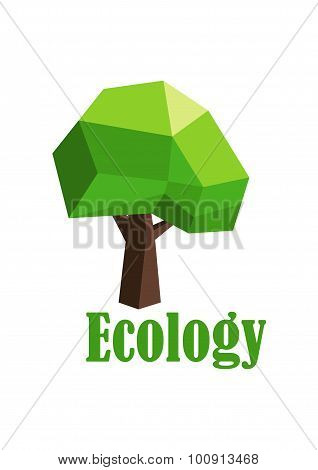 Green tree icon with polygonal crown