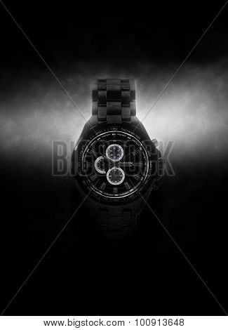 Luxury Design Black Wristwatch Lit Dramatically from Side on Dark Background. 3d Rendering.