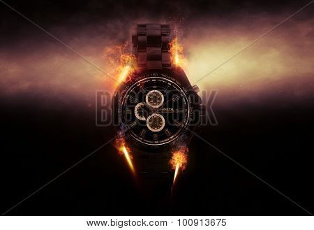 Luxury Design Black Wristwatch Chronograph Lit Dramatically from Side on Dark Background with Glowing Effect and Flames. 3d Rendering.