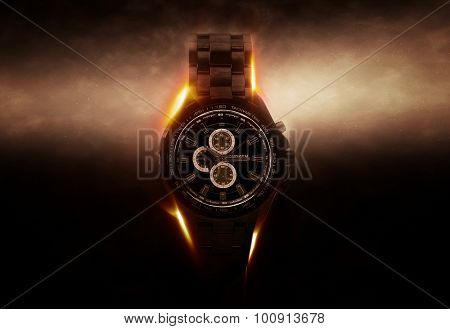 Luxury Design Black Wristwatch Chronograph Lit Dramatically from Side on Dark Background with Glowing Effect. 3d Rendering.