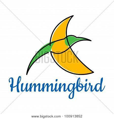 Bright hummingbird soaring in the sky