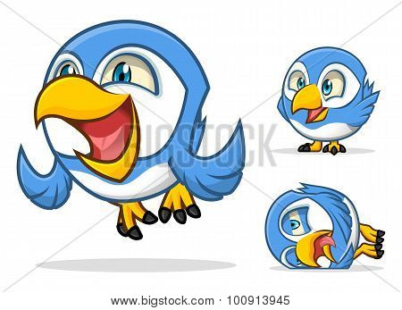 High Quality Set of Funny Blue Bird Cartoon Character