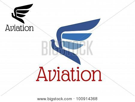 Aviation blue abstract icon or emblem