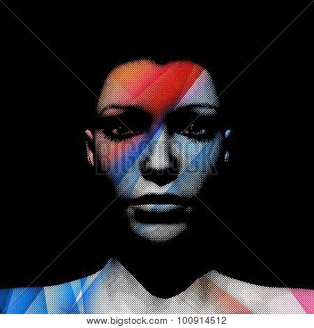 3D render of woman's face with transparent blue and red strips and halftone pattern, editable