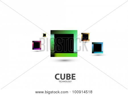 Square Cube Logo, Abstract Business Technology Icon, editable vector