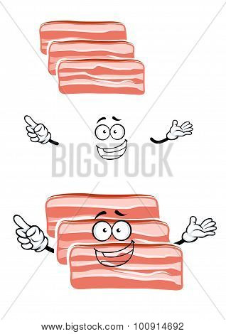 Cartoon fresh bacon rashers character